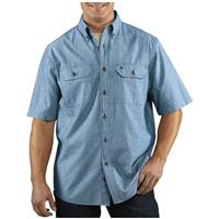 Men's Carhartt® Short-sleeve Chambray Work Shirt, Denim Blue