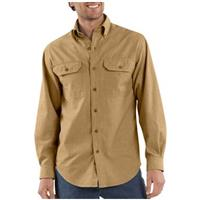 Men's Carhartt® Long-sleeve Chambray Work Shirt, Dark Tan