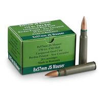 Mauser, 8x57mm JS, .323 Bore Non-WWII Dimensions, FMJ, 170 Grain, 720 Rounds