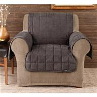 Sure Fit® Deluxe Velvet Mini-check Chair Pet Cover, Black and Brown