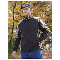 Men's Guide Gear Camo Trim Soft Shell Jacket, Black / Camo