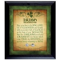 Irish Blessing with Two Threepence Coins Wall Frame