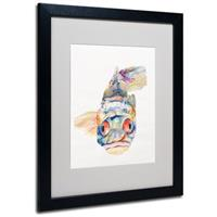 "Pat Saunders-White ""Blue Fish"" Framed Matted Art, Black"