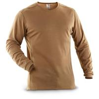 New U.S. Military Surplus Polartec® X-static® Long-sleeved Crew Shirt, Coyote