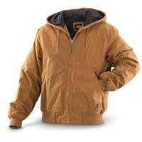 Dickies® Men's Sanded Duck Hooded Work Jacket, Brown Duck