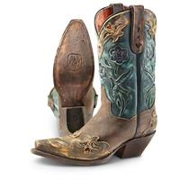 Women's Dan Post® Vintage Blue Bird Western Boots, Chocolate / Teal