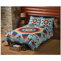 CASTLECREEK Brilliant Star Quilt and Sham Set, Blue
