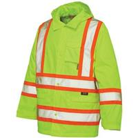 Work King Safety Hi-Vis Hooded Rain Jacket, Fluorescent Green