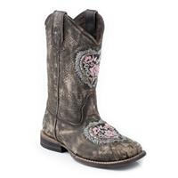 Roper® Kids' Heart and Glitter Western Boot, Brown
