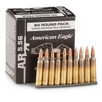 90 rds. American Eagle 5.56x45 NATO 55 Grain FMJBT Ammo with Stripper Clips