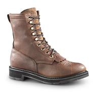 "Guide Gear Men's 9"" Kiltie Leather Work Boots, Brown"