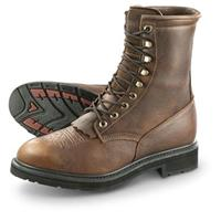 "Guide Gear Men's 9""  Kiltie Leather Work Boots, Waterproof, Brown"