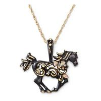 Black Hills Gold Black Horse Necklace