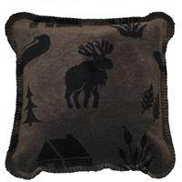 Denali® Home 18 inch Moose Camp Throw Pillow, Taupe / Black