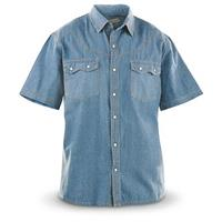 Guide Gear® Men's Sawtooth Denim Short-Sleeve Shirt, Lightwash