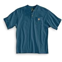 Carhartt Men's Workwear Pocket Short Sleeve Henley Shirt, Stream Blue