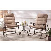 CASTLECREEK Padded Outdoor Rocking Chair Set, 3 Piece