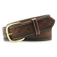 Aquarius Western Leaf Embossed Belt, Brown