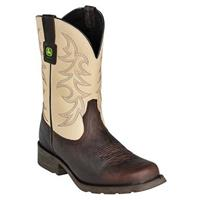 John Deere® 10 inch Work Western Pull-on Boots, Dark Brown