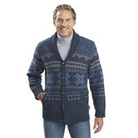 Ultra-line Fair Isle Cardigan, Deep Indigo