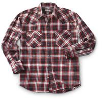 Men's Western Flannel Shirt, Burgundy