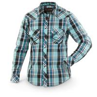 Rock & Roll Cowboy Long-sleeved Poplin Plaid Western Shirt, Black / Mint