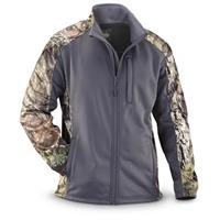 Guide Gear Men's Camo Trim Soft Shell Jacket, Gray / Mossy Oak Break-Up COUNTRY
