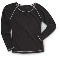 Guide Gear Women's Midweight Long Sleeve Base Layer Top, Black