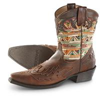 Women's Stetson Beaded Raffia Cowgirl Boots, Brown