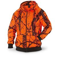 WFS Men's Heavy Fleece Blaze Orange Camo Hooded Sweatshirt