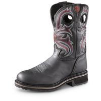 Tony Lama Men's 3R Cowboy Work Boots, Steel Toe, Waterproof, Black Grizzly, Black