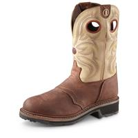 Tony Lama Men's 3R Cowboy Work Boots, Steel Toe, Waterproof, Sienna Grizzly, Brown