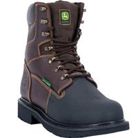 John Deere 8 inch Fire Retardant Rubber XRD Met Guard Steel Toe Work Boots, Dark Chocolate