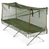 U.S. Military Issue Surplus Mosquito Net with Poles, Olive Drab, New