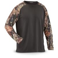 Guide Gear Men's Performance Hunting Long Sleeve T Shirt, Black / Mossy Oak Break-Up