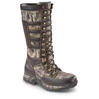 Guide Gear Men's Leather Side-zip Snake Boots, Waterproof, Brown / Mossy Oak Break-Up Country
