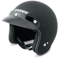 Raider Journey Open Face Flat Helmet, Black