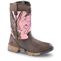 Women's Rocky Aztec Pink Camo Hunting Boots, Pink Mossy