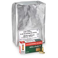 Sellier & Bellot, .25 ACP, FMJ, 50 Grain, 1,000 Rounds