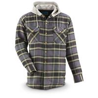 Men's Quilt-Lined Hooded Flannel Shirt, Green