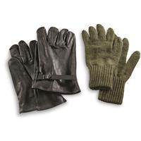 Italian Military Surplus Black Leather Gloves with Wool Liner, New