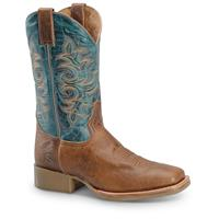"Double-H Men's 12"" Flexion Square Toe Cowboy Boots, Tan Turquoise"