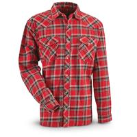 Guide Gear Men's Western Flannel Shirt, Red Plaid