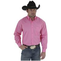 Wrangler Tough Enough To Wear Pink Long Sleeve Solid Shirt, Pink