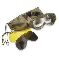 French Olive Drab Tanker Goggles with Protective Carry Bag, Used