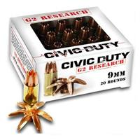 G2 Research Civic Duty, 9mm Luger, SCHP, 100 Grain, 20 Rounds