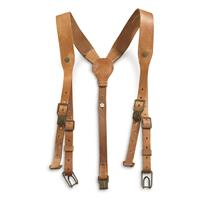Czech Military Surplus Leather Suspenders, Used