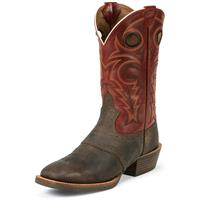 Justin Men's Chocolate Buffalo Silver Collection Cowboy Boots, Chocolate