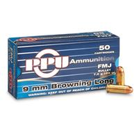 PPU, 9mm Browning Long, FMJ, 108 Grain, 50 Rounds