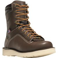 "Danner Men's Quarry USA Waterproof 8"" Wedge Alloy Toe Work Boots, Brown"